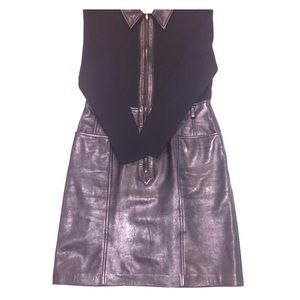 ESCADA Vintage black leather and wool knit dress